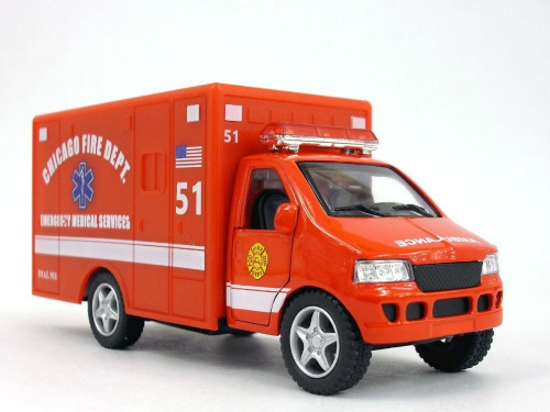 13cm-Chicago-RED-Ambulance-Model-KinsFun-Shipping-is-Free
