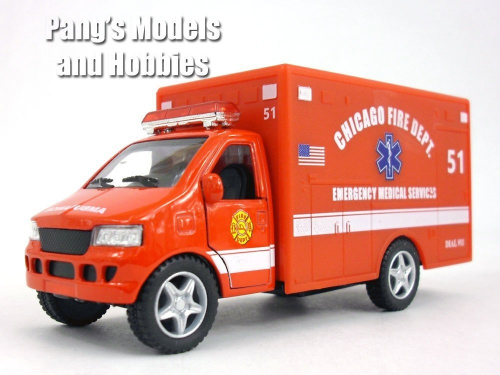 13cm-Chicago-RED-Ambulance-Model-KinsFun-Shipping-is-Free thumbnail 2