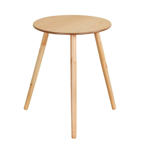 Collections-Etc-Round-Wooden-Side-Accent-Table-Unfinished-50cm-Diam-x-60cm-H thumbnail 1