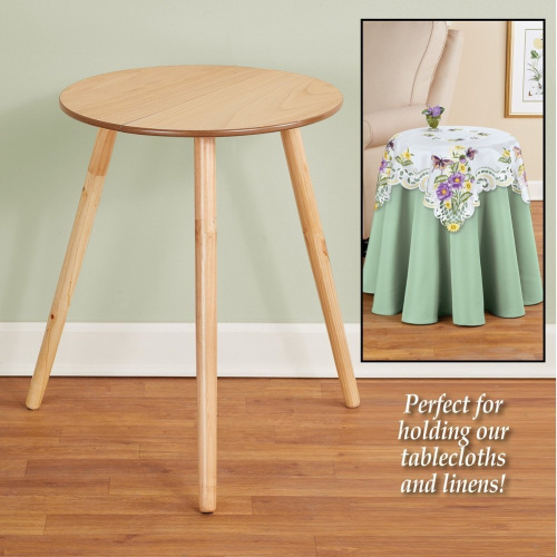 Collections-Etc-Round-Wooden-Side-Accent-Table-Unfinished-50cm-Diam-x-60cm-H thumbnail 2