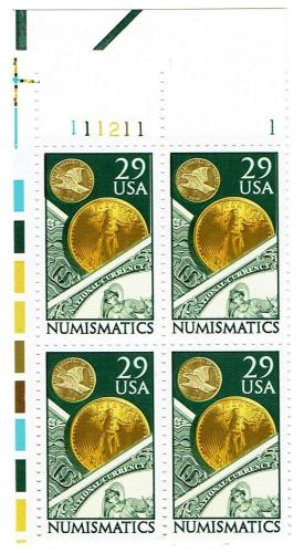 Numismatics-Plate-Block-of-4-x-29c-Stamps-Scott-2558-US-Postage-Stamps