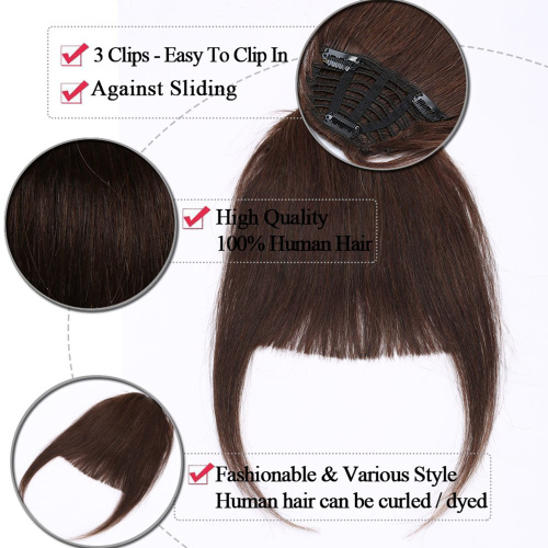 S-noilite-Clips-in-Hair-Bangs-Fringe-Hair-Extensions-Clip-On-Bang-Topper-3D thumbnail 3