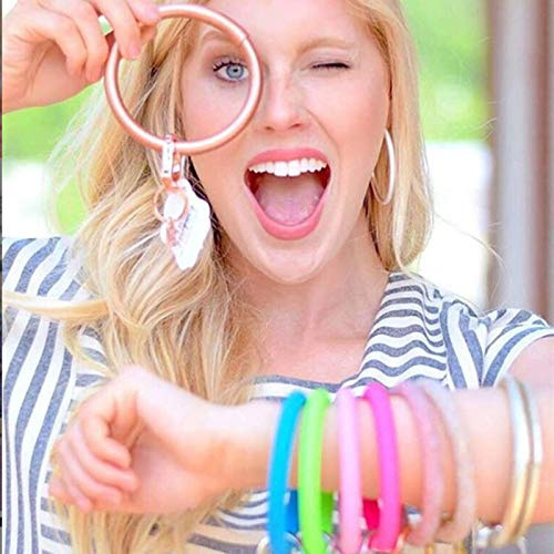 18-Sunvy-Wristlet-Round-Key-Ring-Chain-Leather-Silicone-Large-Circle thumbnail 3