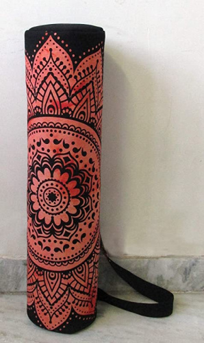 thumbnail 5 - (Red Flower) - Indian Craft Castle Hippie Yoga Mat Carrier Bag with Shoulder