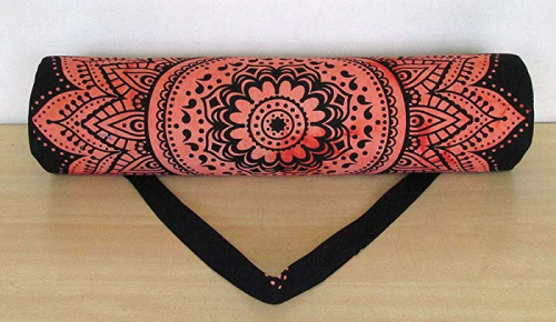 thumbnail 6 - (Red Flower) - Indian Craft Castle Hippie Yoga Mat Carrier Bag with Shoulder