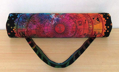 thumbnail 3 - (Zodiac Multi) - Indian Craft Castle Hippie Yoga Mat Carrier Bag with Shoulder